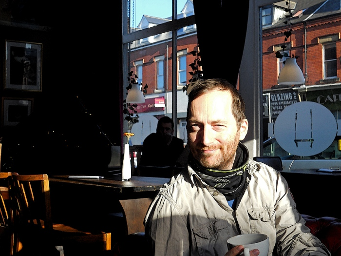 British science fiction dark fantasy author David J Rodger in the The Wild Trapeze cafe, Heaton, Newcastle Upon Tyne