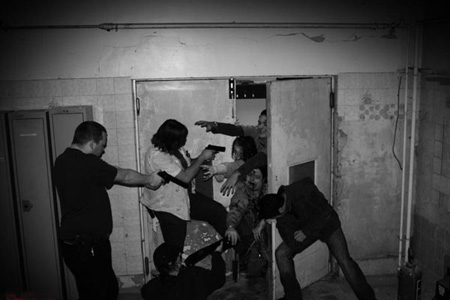 Zombie Manor House Experience - armed response try to hold a choke point