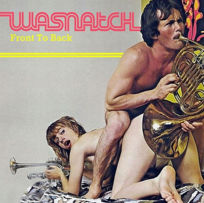 WASNATCH Front  to Back - 1970s style male female naked couple with brass wind instruments