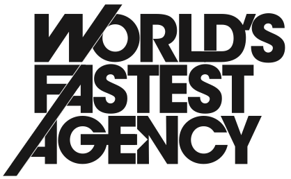 World's Fastest Agency logo - very smart ideas at a super quick speed - defines the hallmark of leading edge marketing and communication strategies