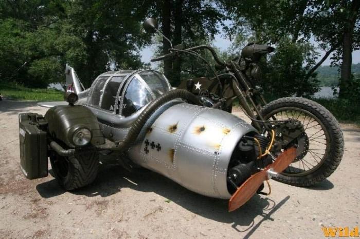 dieselpunk motorcycle with sidecar