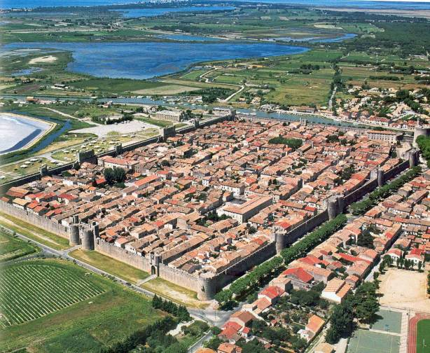 Aigues-Mortes medieval crusader fort photograph from air
