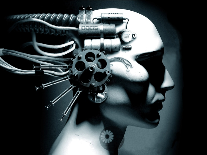 Cyberpunk science fiction synthetic biology and neural implants create a human cyborg machine