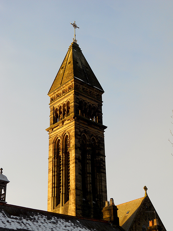 Photo: Jesmond Church Tower Bathed in Golden Winter Light – Newcastle upon Tyne