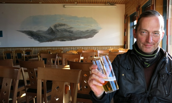 David J Rodger in Cable Car Cafe on mount Fløya, Tromso, Norway