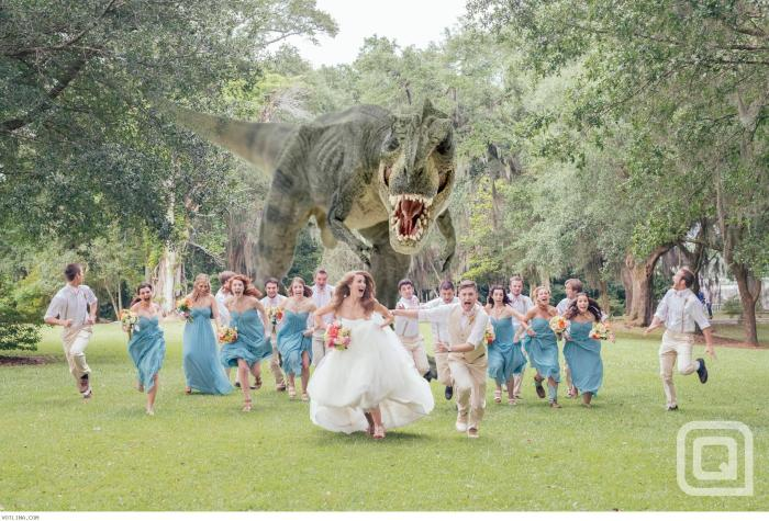 Fantasy wedding photographs by Hagen Landsem similar to this image by Quinn Miller of a roaming dinosaur chasing the wedding couple