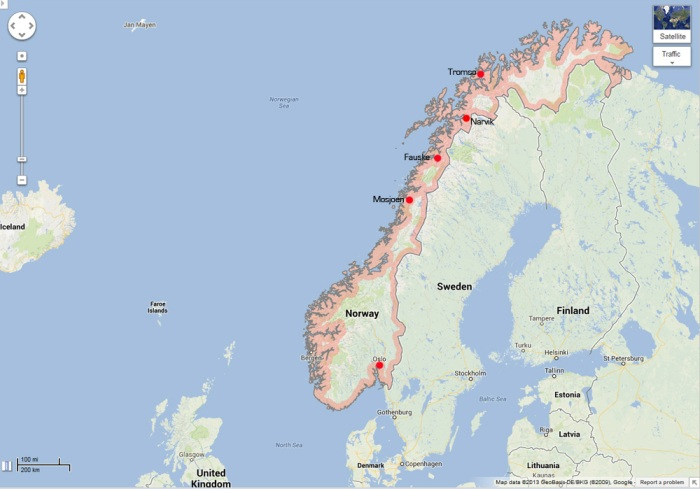 Norway Map - Oslo to Tromso - Image Copyright  Google Maps - All Rights Reserved