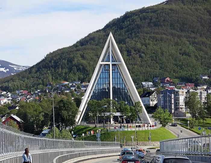 Travel photo crossing Tromso bridge towards Cathedral