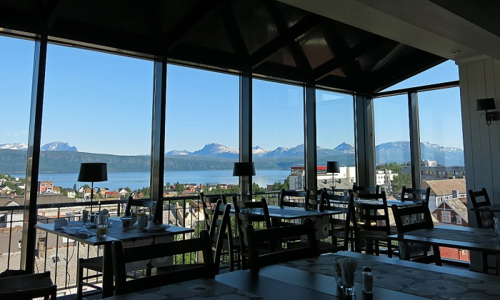 Travel photo Fantastic views from the lovely breakfast room at Breidablikk Guesthouse, Narvik - copyright David J Rodger