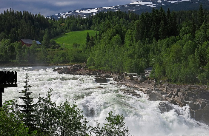 Travel photo Laksforsen waterfall outside Mosjøen, Norway. Copyright David J Rodger