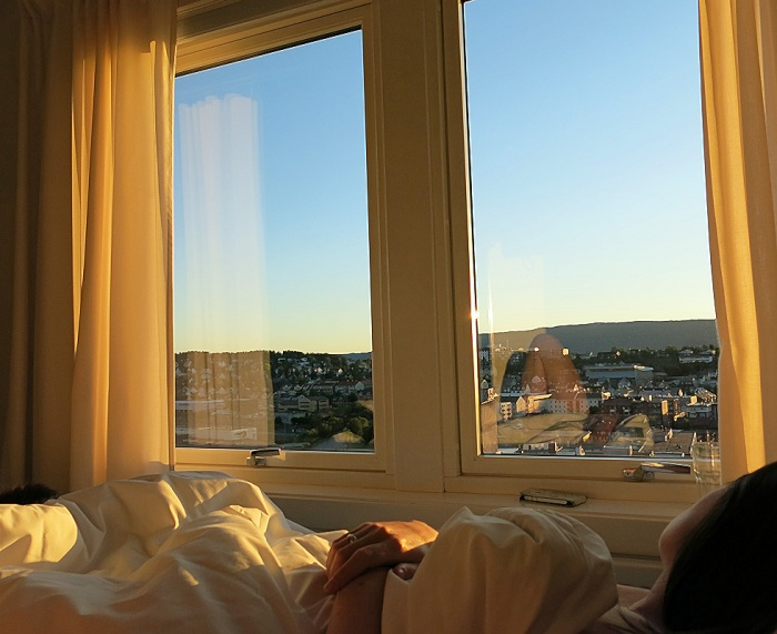 Travel photo Midnight sun over Narvik - view from bedroom in Breidablikk Guesthouse, Narvik - copyright David J Rodger