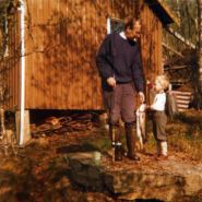 1974 - Dad, Djr - salmon I caught fjord fishing with dad at family cabin in arctic circle