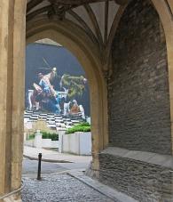 Bristol England Graffiti Street Art seen through medieval arch