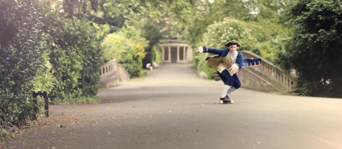 English Teenager Skates Through Historic City of Bath - in full Georgian dress