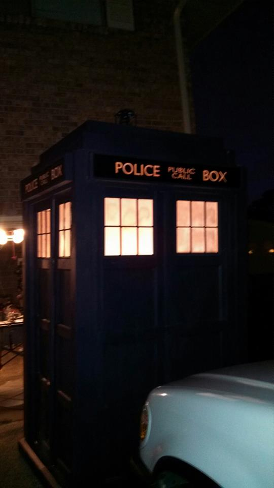 It arrives at night - DIY home made Tardis - Police Call Box - built by Major Sebastian Perry
