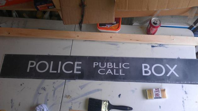 Making the Public Call Box Signage - finished - DIY home made Tardis - Police Call Box - built by Major Sebastian Perry