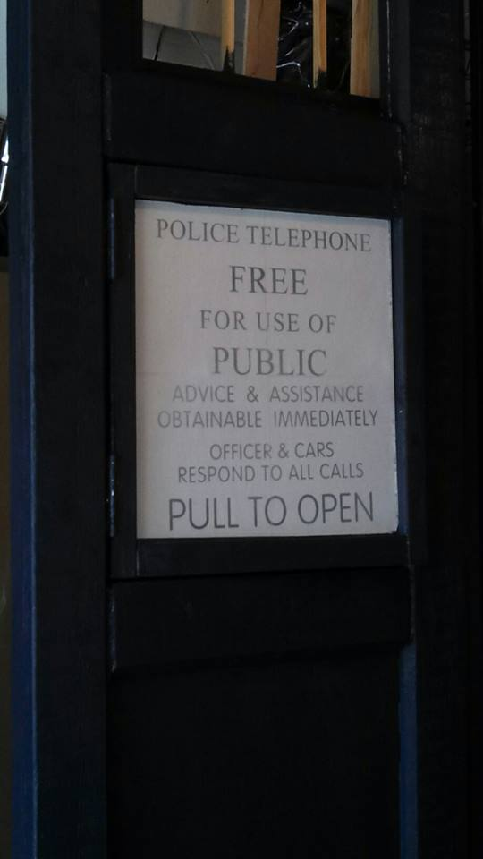 More Signage - DIY home made Tardis - Police Call Box - built by Major Sebastian Perry