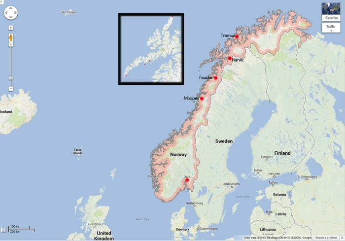 Norway Map - showing inset of Lofoten Islands - Image Copyright  Google Maps - All Rights Reserved