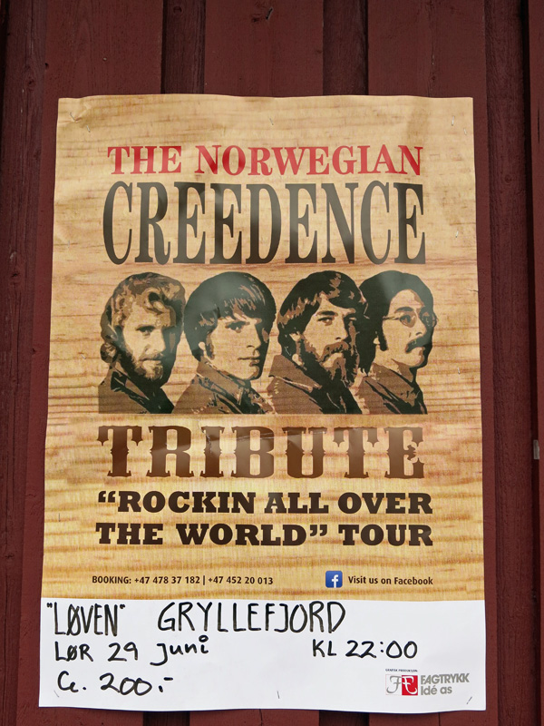 Norway - Senja Island - Gryllfjord - poster for the Norwegian Creedence Tribute Rockin all over the World tour