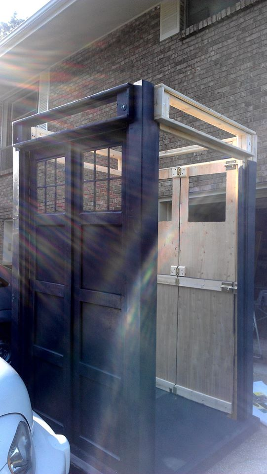 Putting it all together - DIY home made Tardis - Police Call Box - built by Major Sebastian Perry