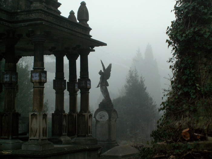 Statues in the mist within cemetery - Arnos Vale - Bristol - England - copyright David J Rodger
