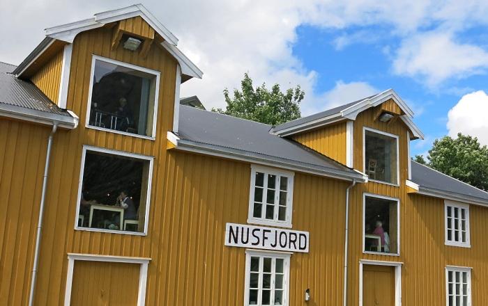 travel photo arctic circle  Norway - exterior of Karoline Cafe - Nusfjord - image copyright David J Rodger