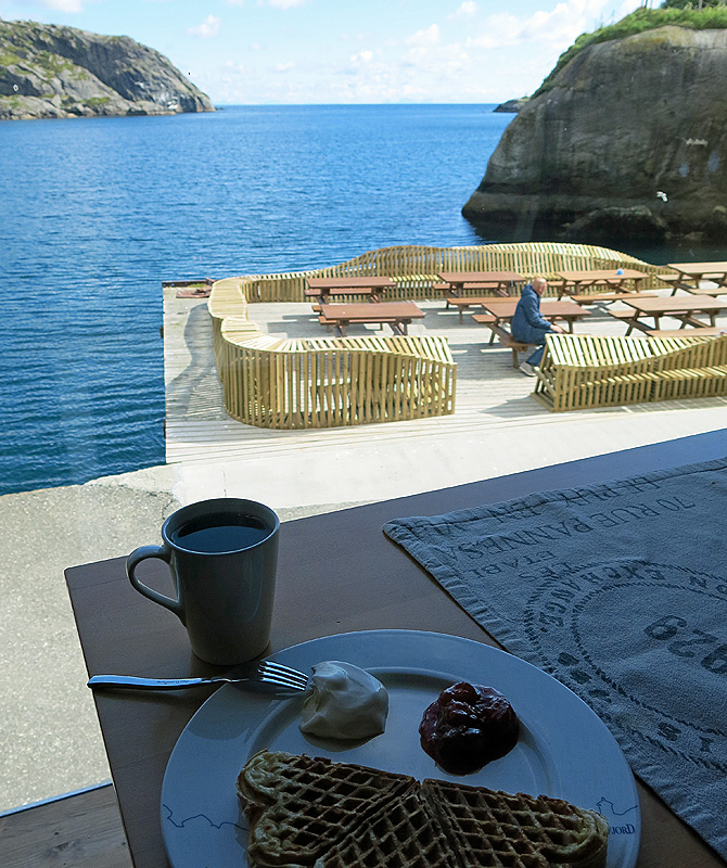 travel photo arctic circle  Norway - the beautiful view from Karoline Cafe - Nusfjord - image copyright David J Rodger