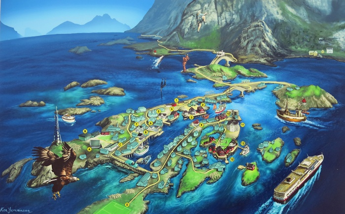 travel photo arctic circle norway - tourist map of Henningsvaer