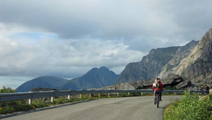 travel photo Henningsvaer arctic circle norway - cyclist  - image copyright David J Rodger