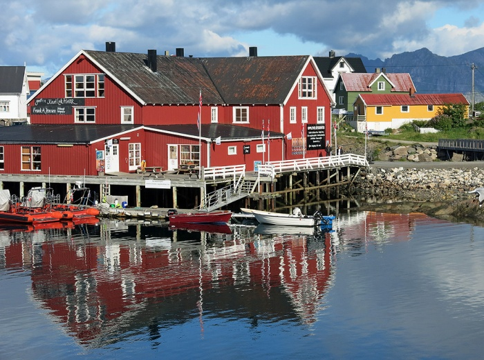 travel photo Henningsvaer arctic circle norway - view from hotel at breakfast  - image copyright David J Rodger
