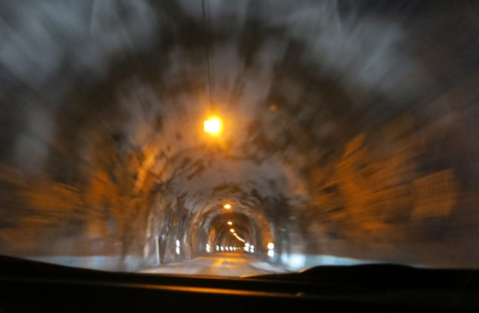 Travel photo Norway Norway - Senja Island road tunnel through mountain