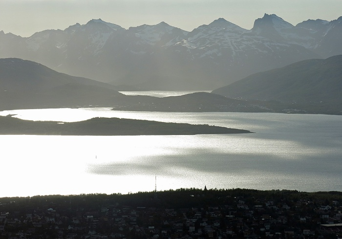 Travel photo Norway - Tromsø - view from  Mount Fløya - silvery sunlight reflecting like mercury on fjord - copyright David J Rodger