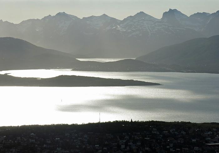Travel photo Norway - Tromsø - view from  Mount Fløya - silvery sunlight reflecting like mercury on fjord - copyright David J Rodger