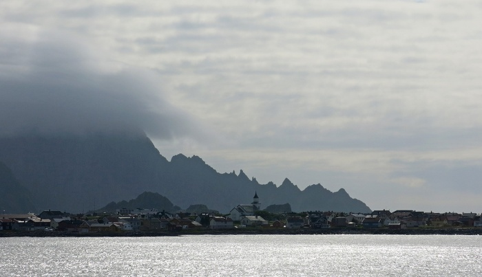 Travel photo Norway view of  nothern tip of Vesterålen Islands and Andenes from sea - copyright David J Rodger