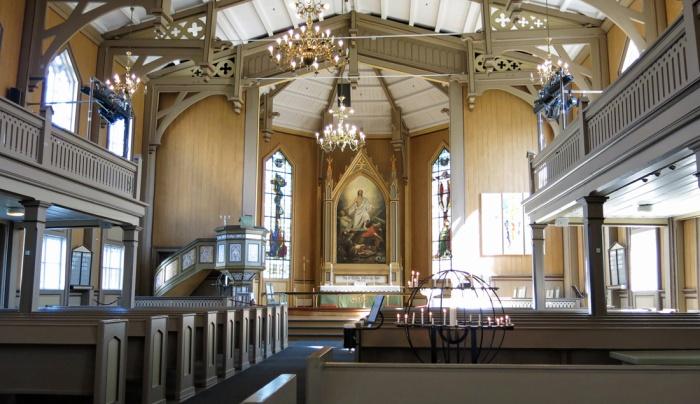 Travel photo Tromso Cathedral interior copyright David J Rodger