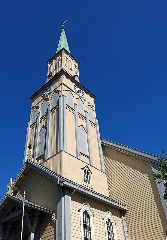 Travel photo Tromso Cathedral steeple copyright David J Rodger
