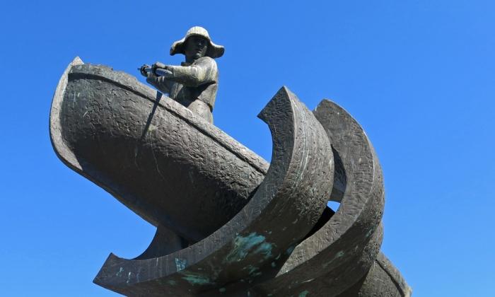 Travel photo Tromso sculpture of a fisherman copyright David J Rodger