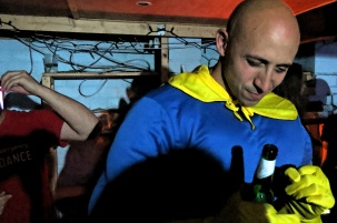 Banana Man Unmasked - Vince - a boxer - is on a mission to get hammered at this party Photo by David J Rodger