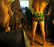 Girl admires jungle man's bottom photo by David J Rodger