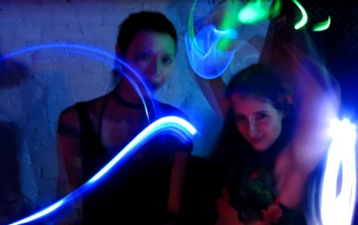Home Made Night Club two girls with glow sticks Photo by David J Rodger