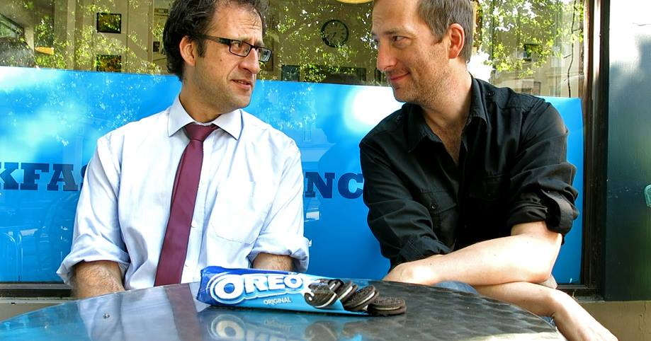 Nick and David J Rodger in Advertising Sketch How an Oreo ought to be - outside Boston Tea Party Cafe England