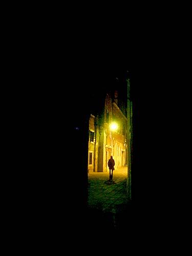 Travel Photo Venice Italy Copyright David J Rodger - Single woman alone at night - the darker side of Venice