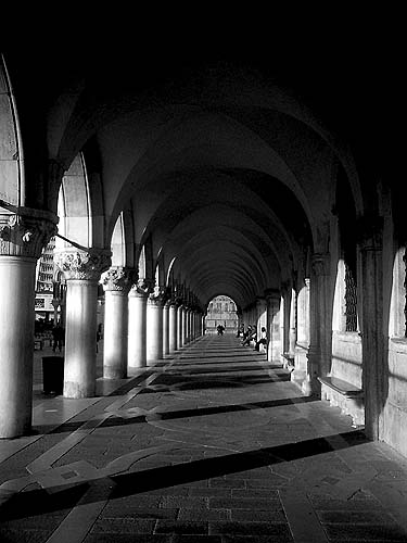 Travel Photo Venice Italy Copyright David J Rodger - Vaulted colonnade Doges Palace