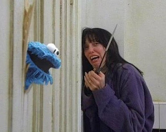 Cookie Monster in  The Shining - Here's Johnny