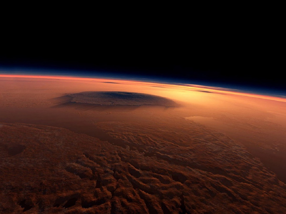 Image of Mars as a concept of what futuristic race pilots might see - science fiction
