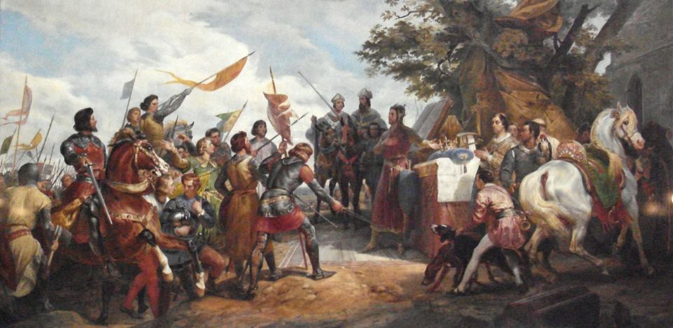 La Bataille de Bouvines, by Horace Vernet - image used to give medieval flavour to Castle a free to download game of cards and dice by David J Rodger
