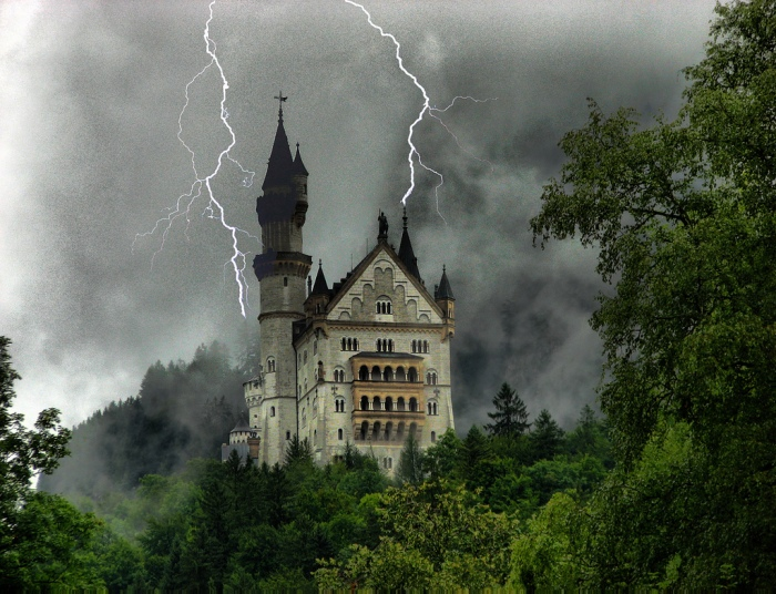 Neuschwanstein Castle inspiration for Disneyland's Sleeping Beauty Castle like setting for insane Cthulhu Mythos plot  photo © Filippo Rome