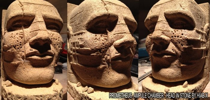 Stone masons sculpture of Prometheus head - better than the movie - by HIAB-X