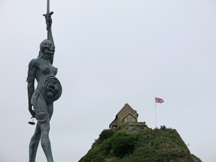 Travel Photo England Devon Ilfracombe by David J Rodger - Verity a 20 metre tall statue of half-skinned pregnant woman by Damien Hirst