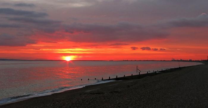 Travel Photo England Hayling Island Coastal Retreat by David J Rodger - blood red sunset magic